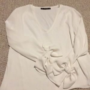 Zara blouse with bow sleeves